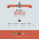 Het uitstekende malplaatje van het websiteontwerp. Koffiethema. HTM Royalty-vrije Stock Fotografie