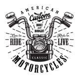 Het uitstekende malplaatje van het motorfietsembleem royalty-vrije illustratie