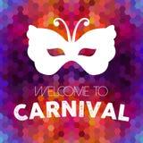 Het uitstekende masker van Carnaval op kleurrijke achtergrond royalty-vrije illustratie