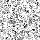 Het uitstekende naadloze patroon van beeldverhaal naaiende knopen Stock Afbeeldingen