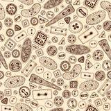 Het uitstekende naadloze patroon van beeldverhaal naaiende knopen Stock Foto's