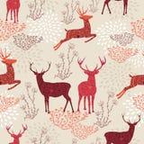 Het uitstekende naadloze patroon van Kerstmiselementen backgr Stock Afbeelding