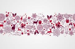 Het uitstekende naadloze patroon van Kerstmiselementen backgr Stock Fotografie