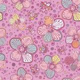 Het uitstekende naadloze patroon van kleuren vectorbloemen stock illustratie