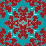 Het uitstekende naadloze patroon van liefdeharten Lichte turkooise bloemenvec Stock Foto