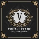 Het uitstekende Ontwerp van het de Bannermalplaatje van het Luxemonogram Royalty-vrije Stock Foto