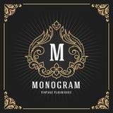 Het uitstekende Ontwerp van het de Bannermalplaatje van het Luxemonogram Stock Afbeeldingen