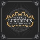 Het uitstekende Ontwerp van het de Bannermalplaatje van het Luxemonogram Royalty-vrije Stock Fotografie