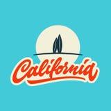 Het uitstekende ontwerp van de de t-shirtkleding van Californië kalligrafische Royalty-vrije Stock Afbeeldingen
