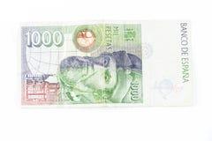 Het uitstekende oude die papiergeld van Spanje op een witte achtergrond wordt geïsoleerd Royalty-vrije Stock Foto