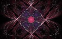 Het uitstekende patroon in de vorm van een bloem met een rood centrum en lilac bloemblaadjes op een achtergrond van abstract Bour Royalty-vrije Stock Afbeeldingen