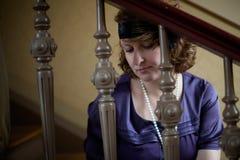 Het uitstekende Portret van de vrouw van de Stijl royalty-vrije stock fotografie