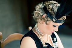 Het uitstekende Portret van de vrouw van de Stijl royalty-vrije stock afbeeldingen