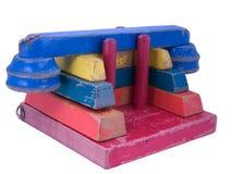 Het uitstekende Raadsel van de Telefoon van het Stuk speelgoed van het Blok van de era van jaren '50 Houten stock foto's