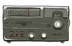 Het uitstekende radioverbinding schilderen Stock Afbeeldingen