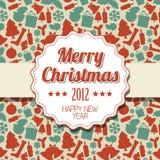 Het uitstekende retro etiket van Kerstmis Stock Afbeeldingen
