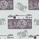 Het uitstekende retro naadloze patroon van de fotocamera De stoffenontwerp van de Mandalastijl De vectorillustratie van de Bohost Royalty-vrije Stock Afbeelding