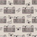 Het uitstekende retro naadloze patroon van de fotocamera De stoffenontwerp van de Mandalastijl De vectorillustratie van de Bohost Stock Afbeeldingen
