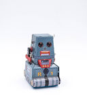 Het uitstekende Stuk speelgoed van de Tankrobot op een Witte Achtergrond Stock Afbeeldingen