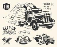 Het uitstekende thema van de vrachtwagenlevering royalty-vrije illustratie