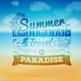 Het uitstekende typografie van letters voorzien met bloemenornamenten en de zomerlandschap Stock Afbeelding
