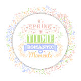 Het uitstekende van letters voorzien en de bloem van de typografielente Royalty-vrije Stock Foto