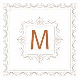 Het uitstekende vastgestelde vectormalplaatje van het ornamentkader Retro huwelijksuitnodiging, reclameontwerp en plaats voor tek Royalty-vrije Stock Fotografie