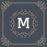 Het uitstekende vastgestelde vectormalplaatje van het ornamentkader Retro huwelijksuitnodiging, reclameontwerp en plaats voor tek Stock Afbeeldingen