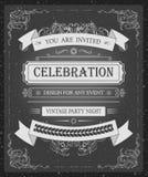 Het uitstekende vector mooie malplaatje van de uitnodigingskaart met elegante hand-trekkende vectorkaders Stock Afbeeldingen