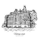 Het uitstekende vector oude Europese huis van de schetstegel, herenhuis, Historische de bouw schetsmatige geïsoleerde lijnkunst,  royalty-vrije illustratie