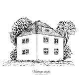 Het uitstekende vector oude Europese huis van de schetstegel, herenhuis, Historische de bouw schetsmatige lijn stock illustratie