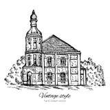 Het uitstekende vector oude huis van de schetstegel, verlaten kerk, Historische de bouw schetsmatige die lijnkunst op wit wordt g vector illustratie