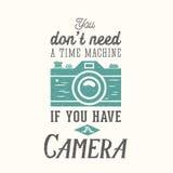 Het uitstekende Vectorcitaat van de Camerafotografie, Etiket Stock Foto's
