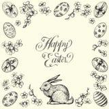 Het uitstekende vectorkader van Pasen Hand getrokken illustraties van konijntje, eieren, en bloemen Gelukkige Pasen-kalligrafie Royalty-vrije Stock Fotografie