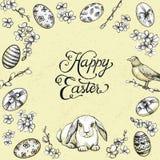 Het uitstekende vectorkader van Pasen Hand getrokken kaart met konijntje, Gelukkige Pasen-kalligrafie Stock Fotografie