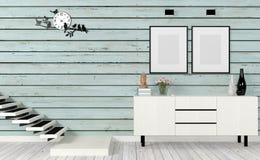 Het uitstekende woonkamerbinnenland met treden, bespot omhoog affiche en zijlijst stock afbeeldingen