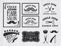 Het uitstekende zwart-wit embleem van de kapperswinkel royalty-vrije illustratie