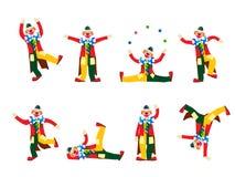 Het uitvoeren van clowns Stock Afbeelding