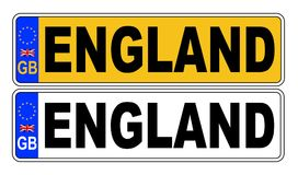 het UK Front And Back Number Plate met Tekst Engeland royalty-vrije illustratie
