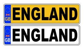 het UK Front And Back Number Plate met Tekst Engeland Royalty-vrije Illustratie