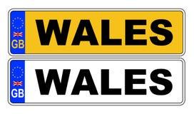 het UK Front And Back Number Plate met Tekst Wales Royalty-vrije Stock Foto