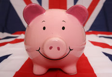 Het UK piggybank Stock Foto's
