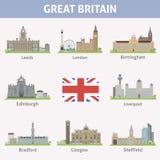 het UK. Symbolen van steden royalty-vrije illustratie