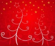 Het unieke Rood van Kerstbomen royalty-vrije illustratie