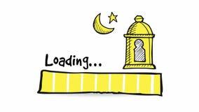 Het uploaden, het downloaden, ladende statusbalk Loopablehd grafische animatie met hand getrokken krabbel Arabische lantaarn, maa vector illustratie