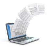 Het uploaden van documenten van laptop. royalty-vrije illustratie