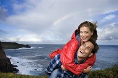 Het vacationing van het paar in Maui, Hawaï. Stock Foto's