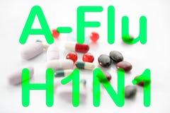 Het vaccin van de de pillenA h1n1 behandeling van de geneeskunde Stock Foto's