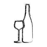 van het wijnfles en glas contour vector illustratie illustratie bestaande uit concept. Black Bedroom Furniture Sets. Home Design Ideas