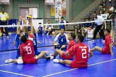(Het Vage) Volleyball van de Zitting van mensen Stock Foto